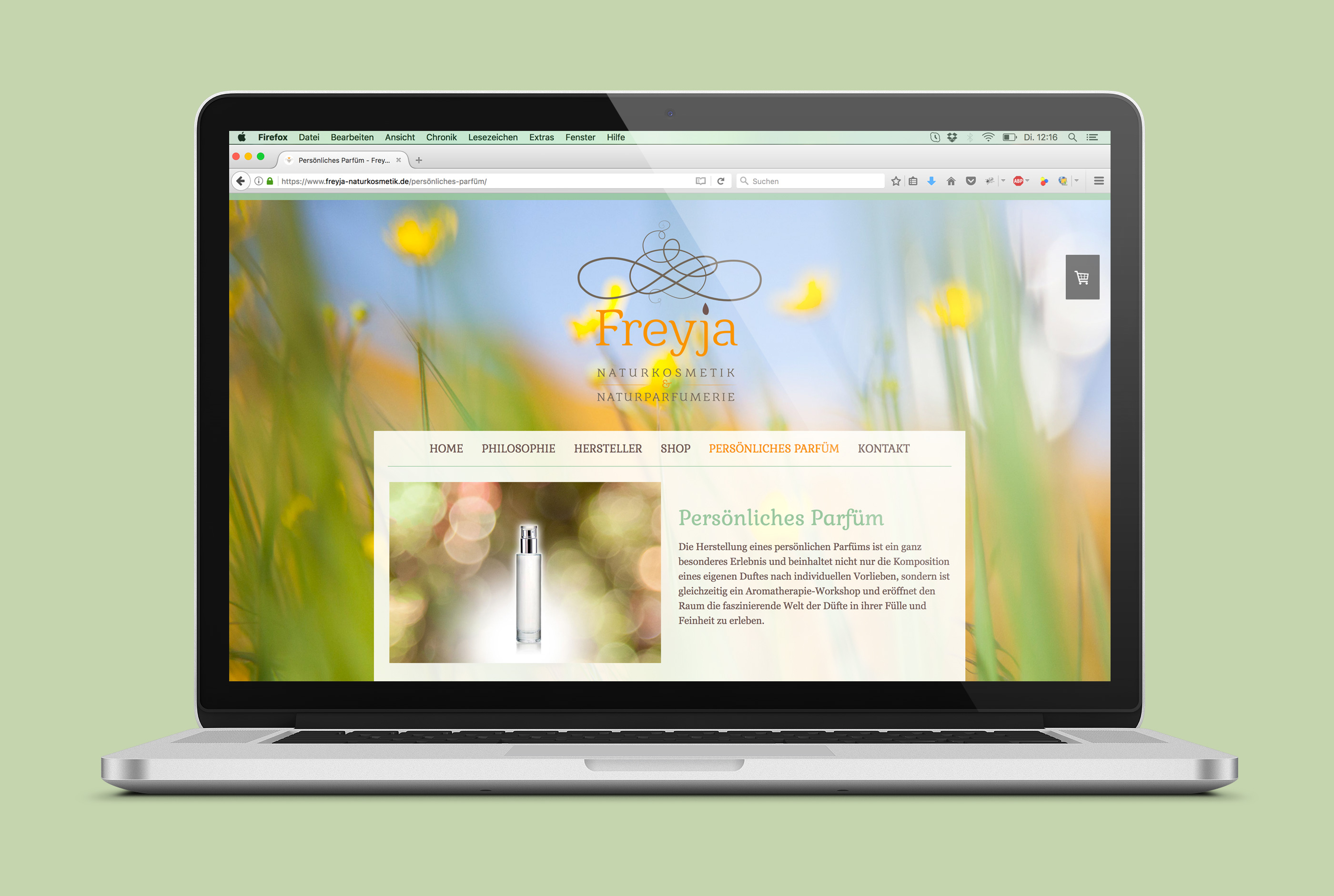 Web Design Alexandra Siebert für Freyja Naturkosmetik
